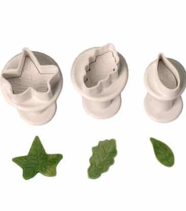 Ausstecher-Set mit Auswerfer Blätter, 3-teilig