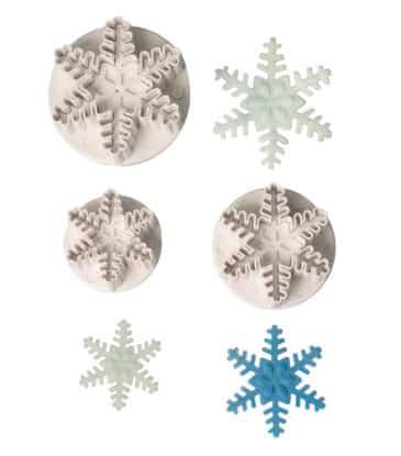 Ausstecher-Set mit Auswerfer Schneeflocke, 3-teilig